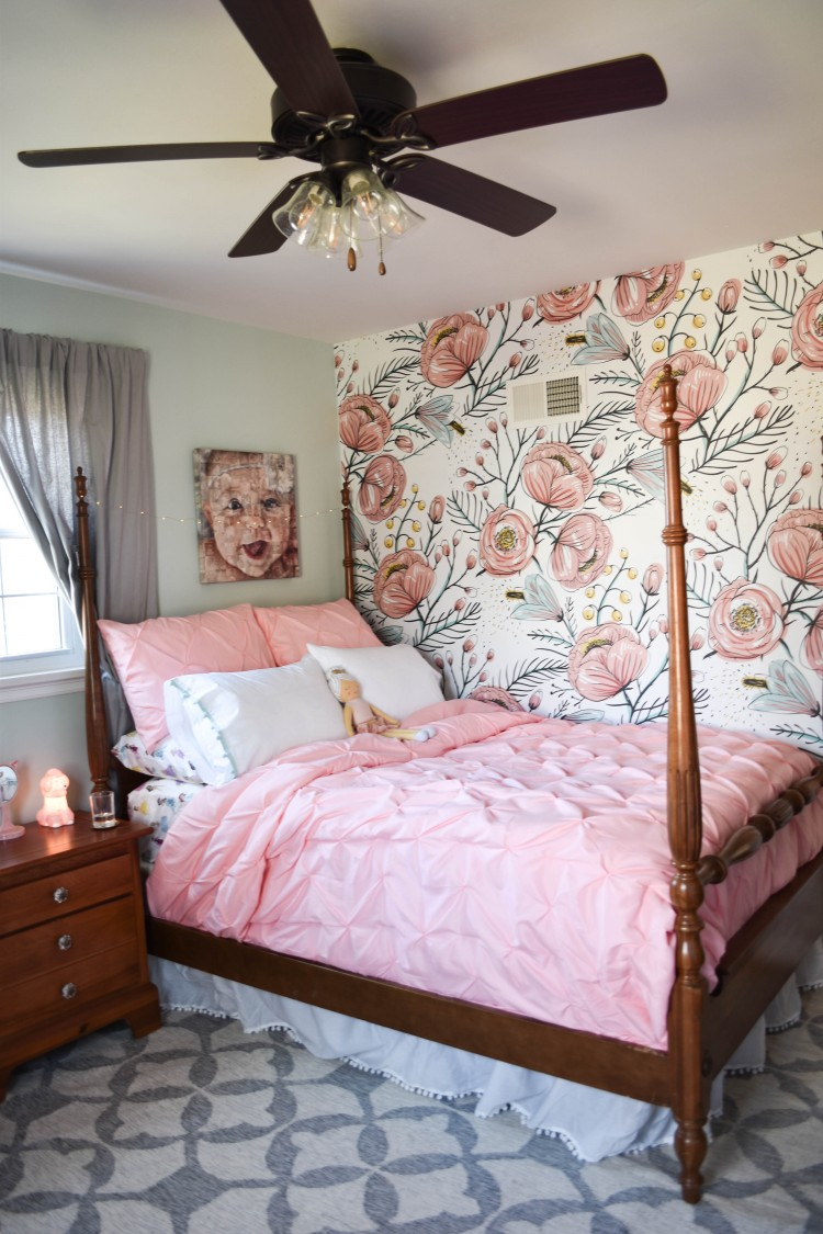 Quinn S Room Reveal A Blue Floral Bedroom For Girls Lovely