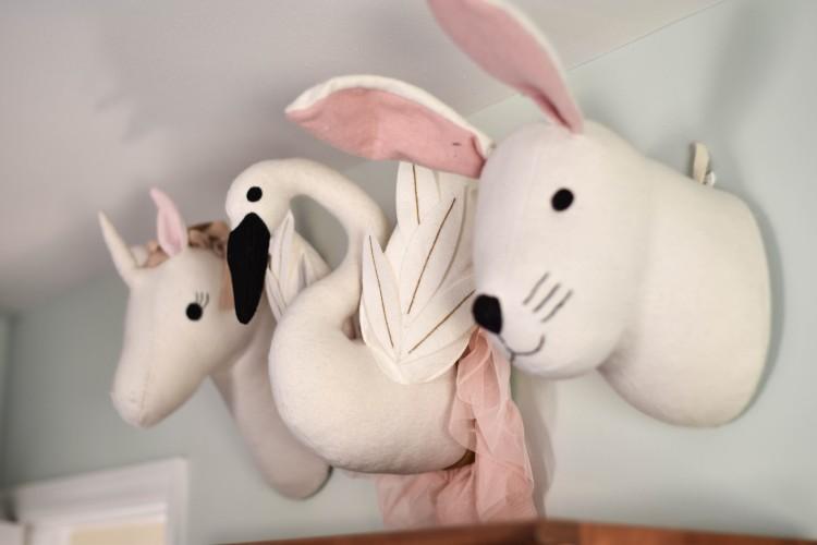 CUTE IDEA! love the animal heads on the wall, super cute for a playroom or a girl's room or a girl's nursery