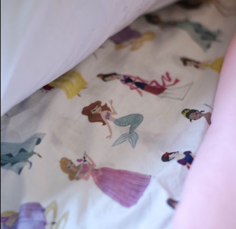 super cute Pottery Barn Kids Disney princess sheets - thanks PBK for making Disney character stuff that's still pretty!