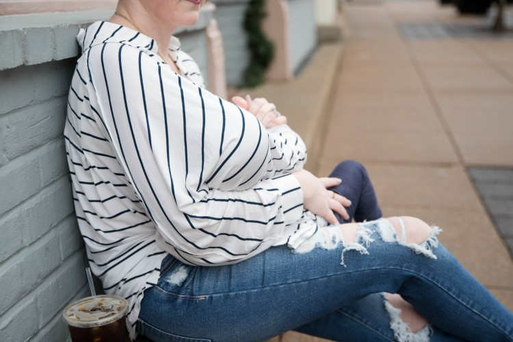 Striped shirt outfit for moms - the perfect nursing top for new moms