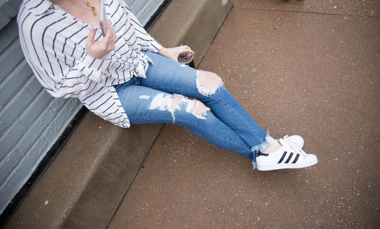 need this distressed jeans outfit with a striped shirt and sneakers