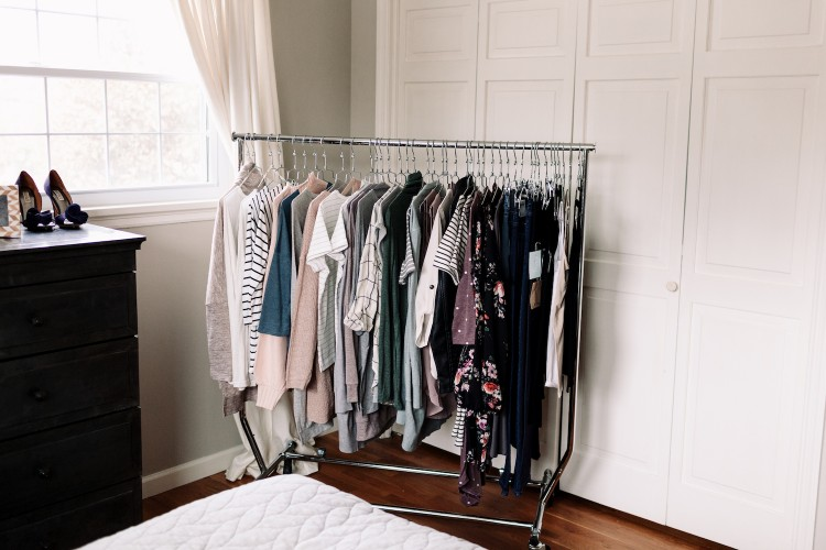 this rack of clothing is AMAZE - basics, neutrals, soft pastels - a perfect palette for spring style!