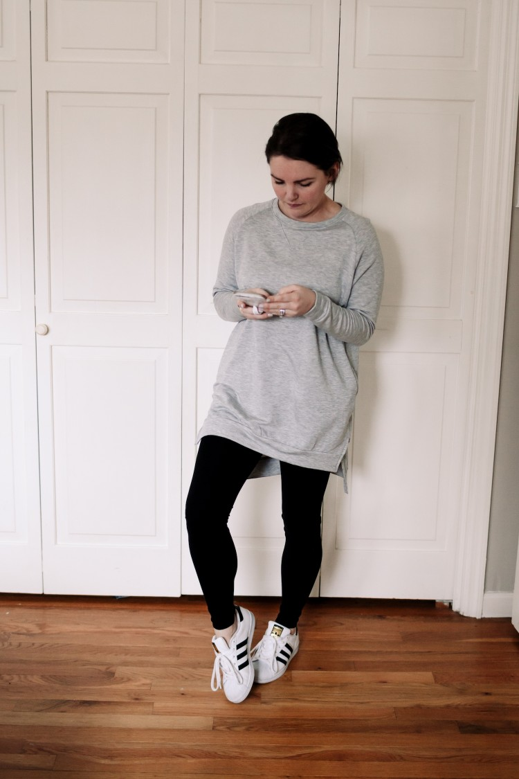 easy outfit equation: grey sweatshirt tunic with leggings and adidas superstar sneakers