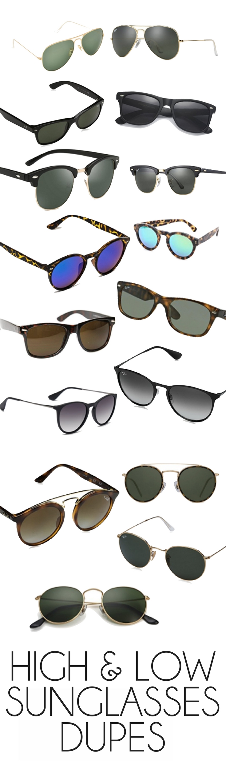 rayban sunglasses and their cheaper dupes - this list of high & low sunnies is SO good! splurge vs save, sunglasses edition