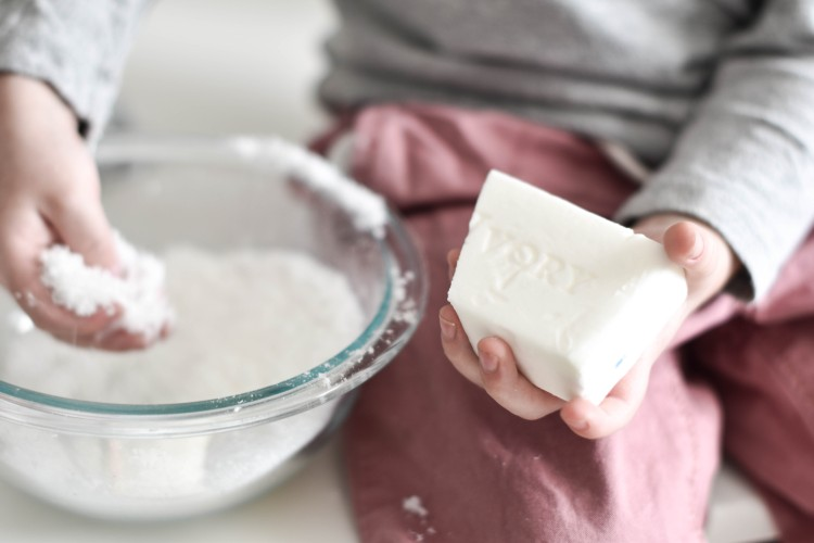 grated ivory soap helps make these bath bombs super easy to make
