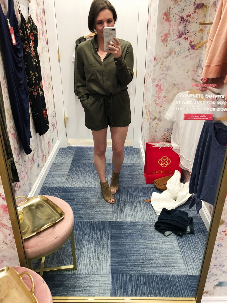 olive green utility romper - thoughts?