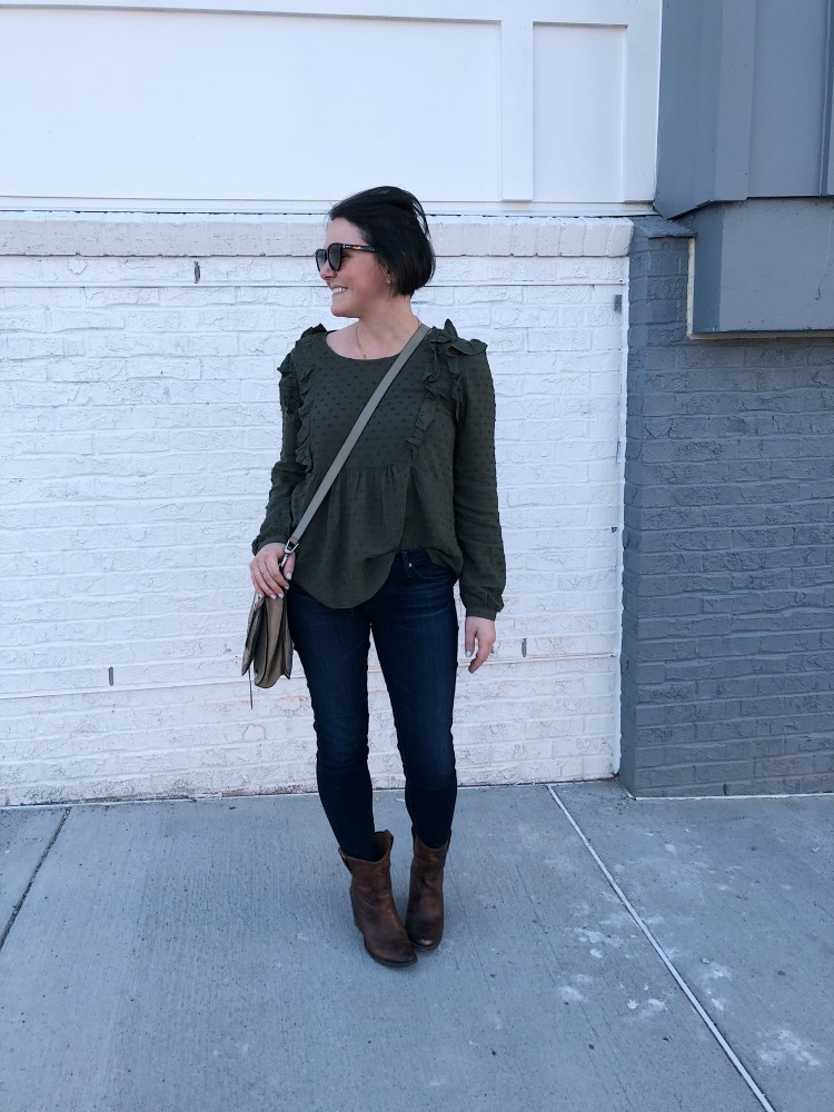 this olive top is super cite - love the femme ruffle details