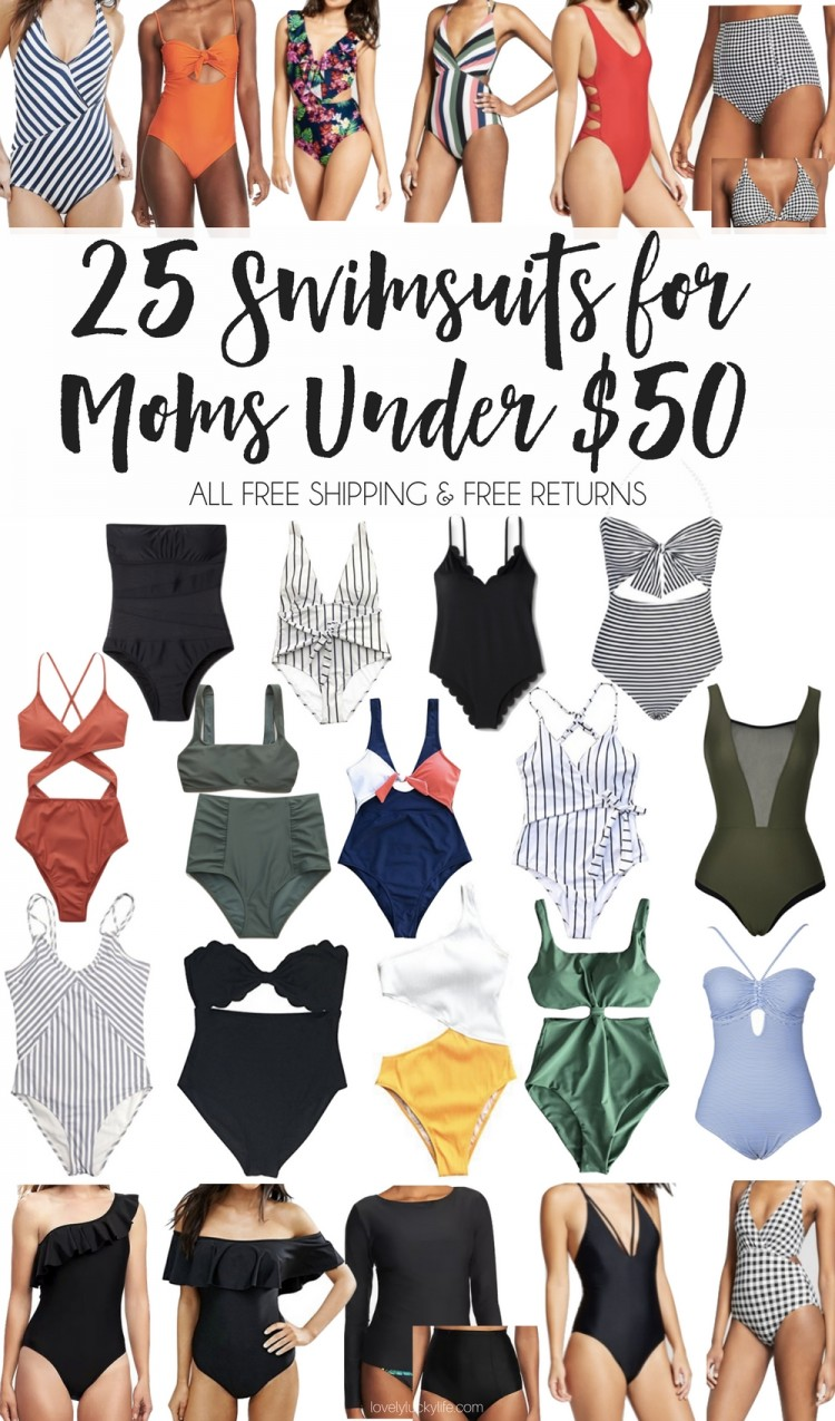 these are the BEST swimsuits for moms! and they're all under $50, have free shipping & free returns! mom swimsuits, mom one-pieces and the best 2 pieces for moms - no tankinis in the bunch ;)