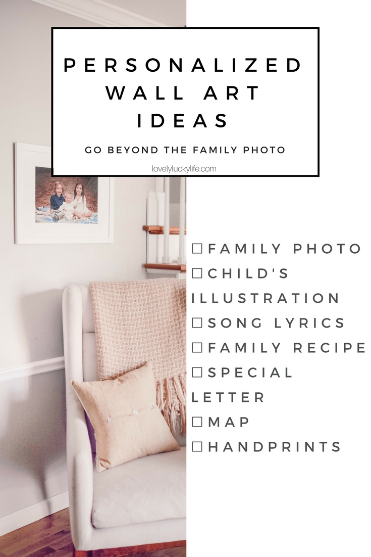 these are the cutest personalized wall art ideas for gifts - use a family photo, a special recipe, a child's illustration, or handprints to make a custom gift! #giftidea #mothersday #gift #wallart #gallerywall