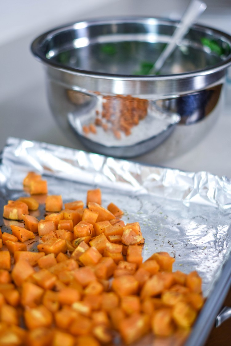 roasted sweet potato cubes for a healthy breakfast meal