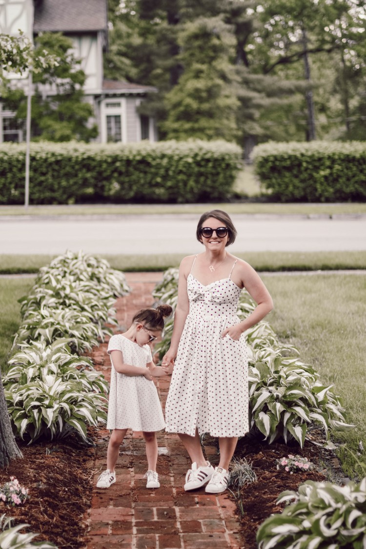 cute mommy and me matching style - polka dot dresses & matching tennis shoes