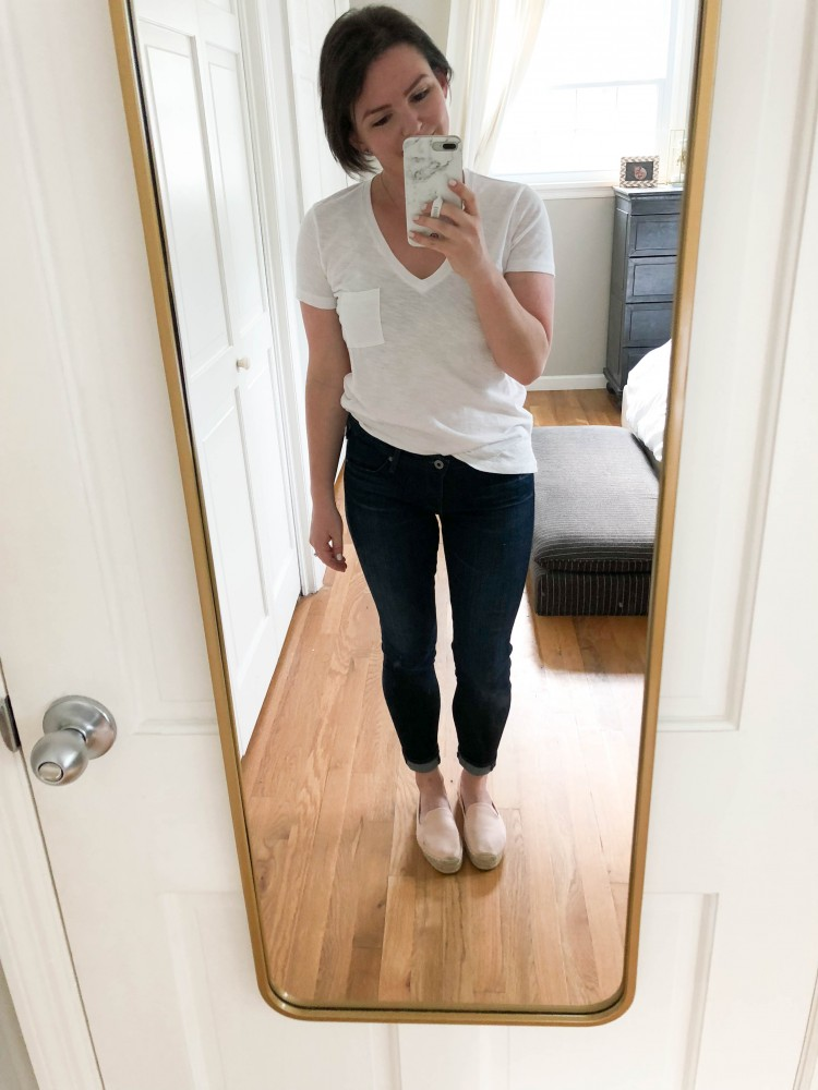the Madewell whisper cotton vneck tee is a a classic white tshirt for women