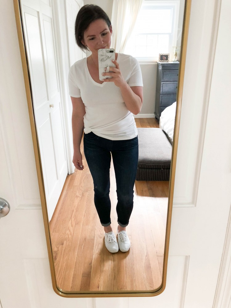 the easiest way to make a white tshirt modern - add a side knot