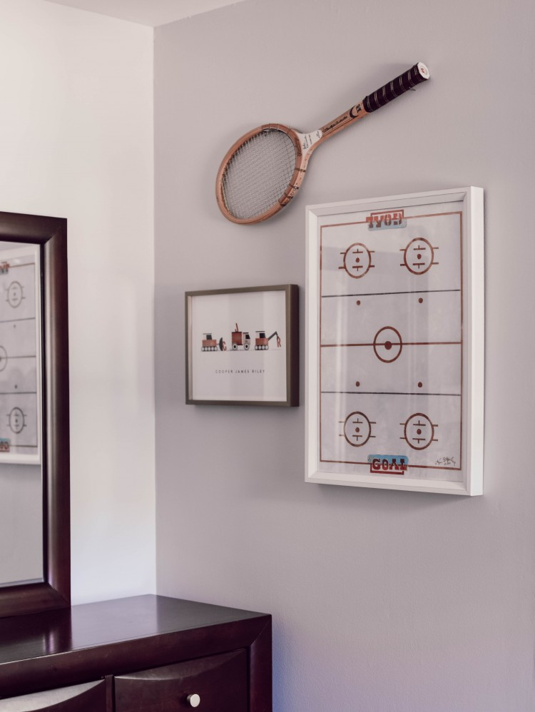 super cute vintage inspired sports wall art for a toddler boy's room