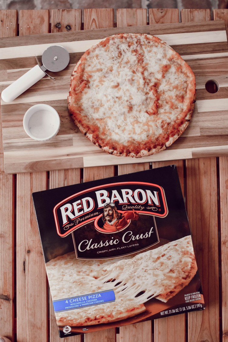 super easy meal hack for busy moms: red baron cheese pizza & ranch.
