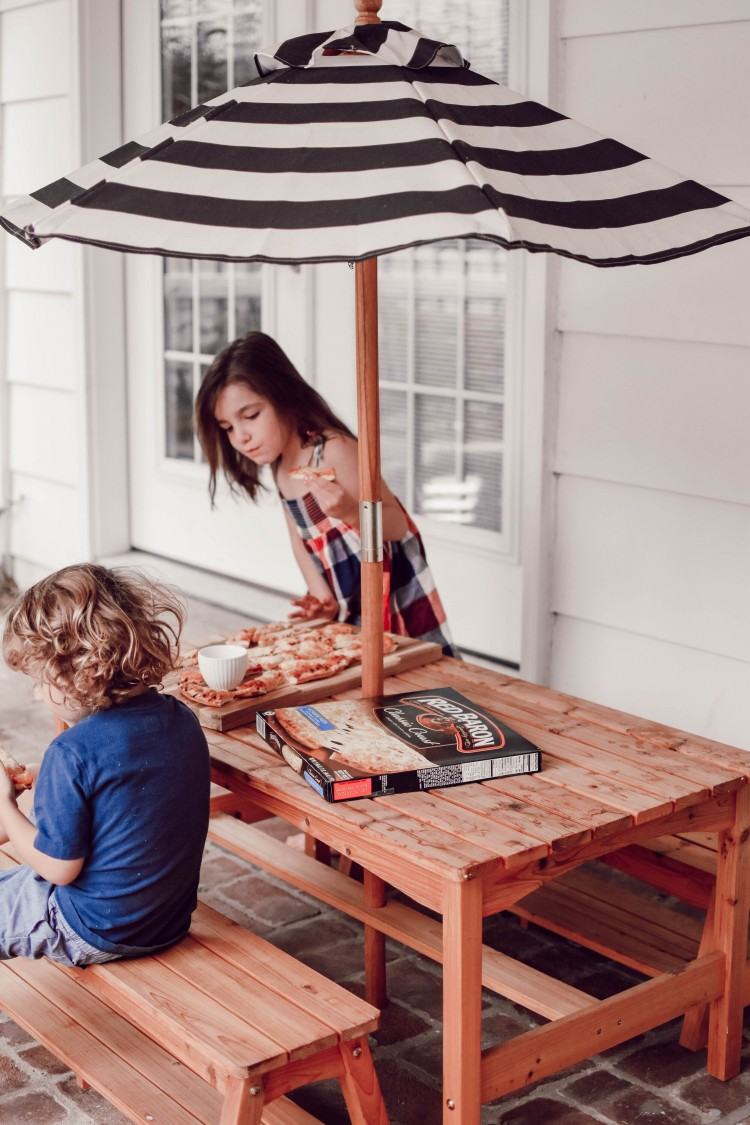obsessed with this little kidkraft picnic table for kids - so cute for a back patio or porch!