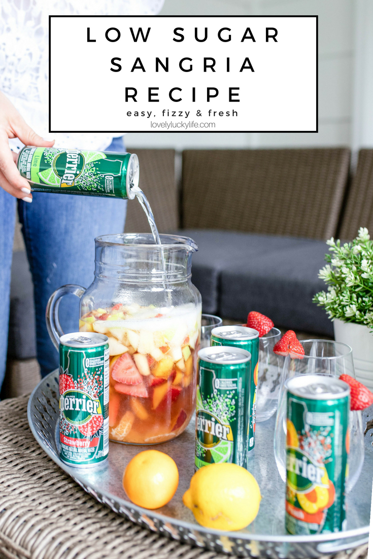 lower sugar recipe for sangria - fresh fruit and sparkling water and rose!