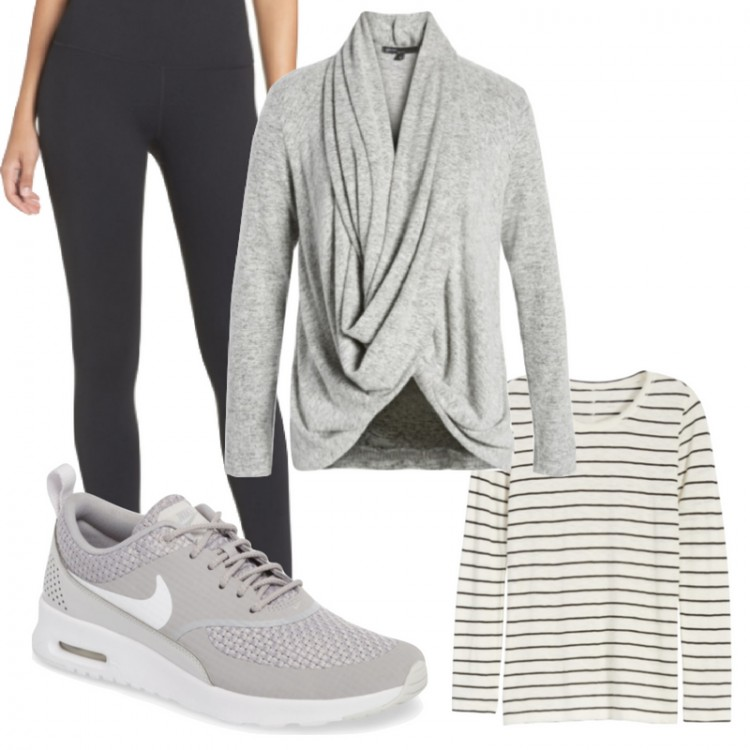 mom outfit idea: black leggings, grey sneakers, striped shirt and wrap cardigan #momstyle