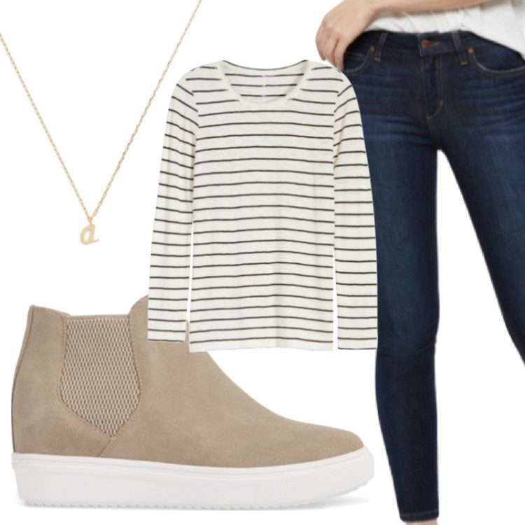 striped shirt outfit idea! pair a long sleeve striped top with skinny dark jeans and wedge sneakers. half-tuck the tee to make it cool!