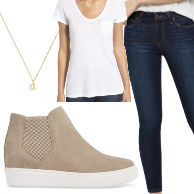 classics every woman should have in her closet: a pretty necklace, good dark skinny jeans, a great white tee and a pair of elevated sneakers