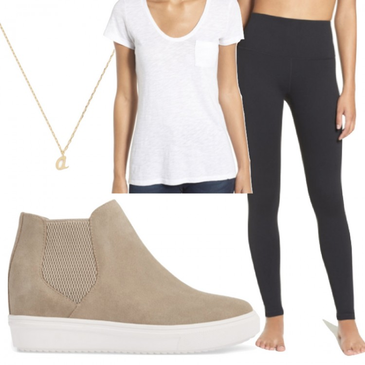 perfect athleisure outfit idea! wedge sneakers + black leggings + a white tee #athleisure