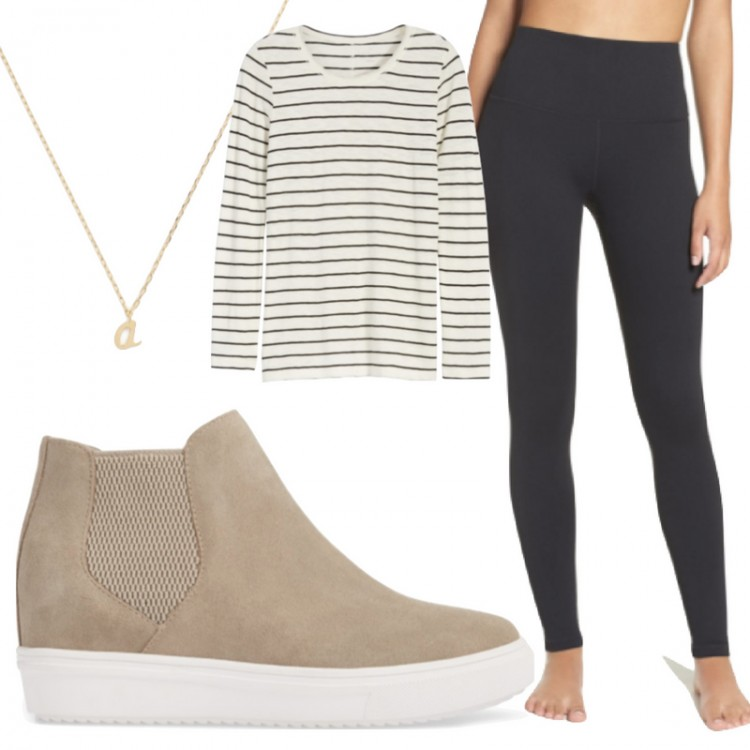 gimme this outfit! striped tee + comfy high waist black leggings + taupe sneakers - great outfit idea for traveling