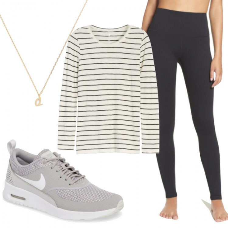 the perfect postpartum outfit - high waist black leggings, a striped shirt, comfy Nike sneakers