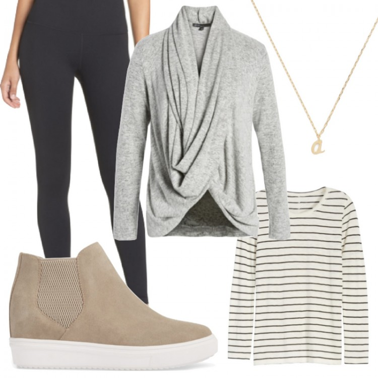 outfit idea for moms: grey wrap cardigan, black zella legging, hidden wedge sneaker, initial necklace, striped tee #basicstyle