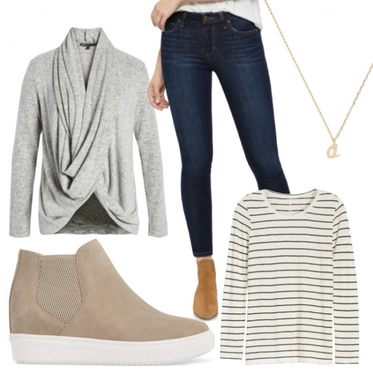 basic style! my kind of outfit - skinny dark jeans, soft cardigan, wedge sneaks, necklace, striped shirt #style #outfitideas