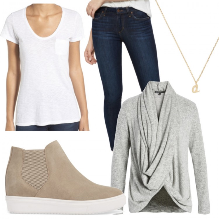 stylish outfit for moms: white tee, dark jeans, dainty necklace, taupe wedge sneakers #momstyle