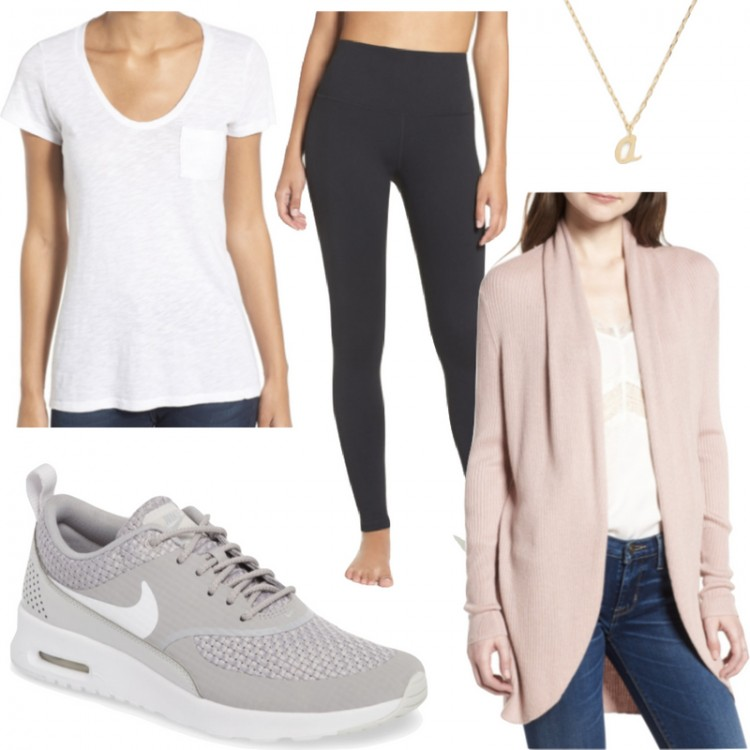 fall outfit idea for the weekend - blush cocoon cardigan, basic white tee, high waist black leggings, and grey Nike sneakers. cool mom uniform!