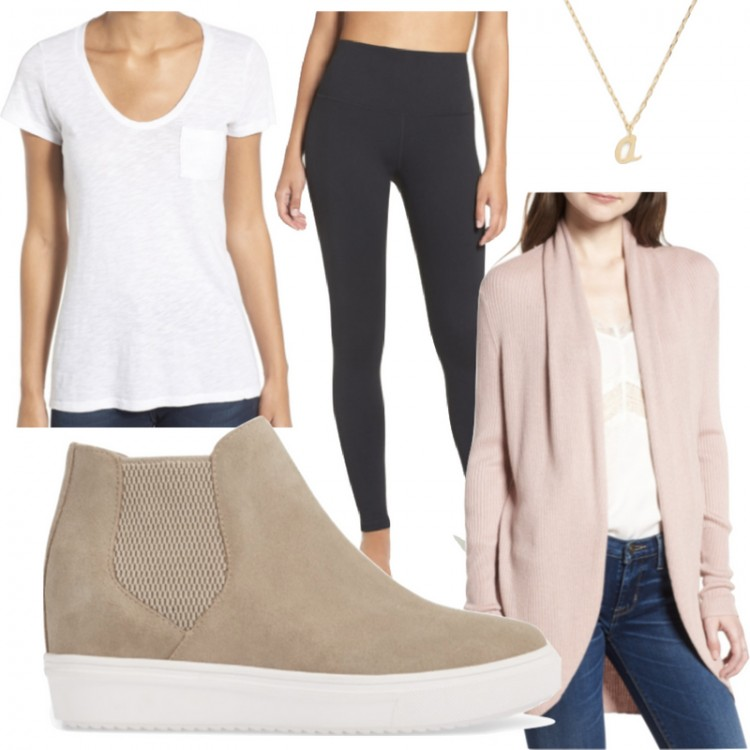 how to wear wedge sneakers: pair them with black leggings, a tee and a long cardigan for a basic mom uniform