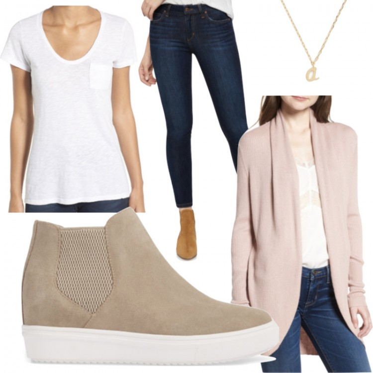 loving this outfit for moms - basic cardigan, cool sneakers, and classic dark jeans. #momstyle #basicstyle #outfitideas