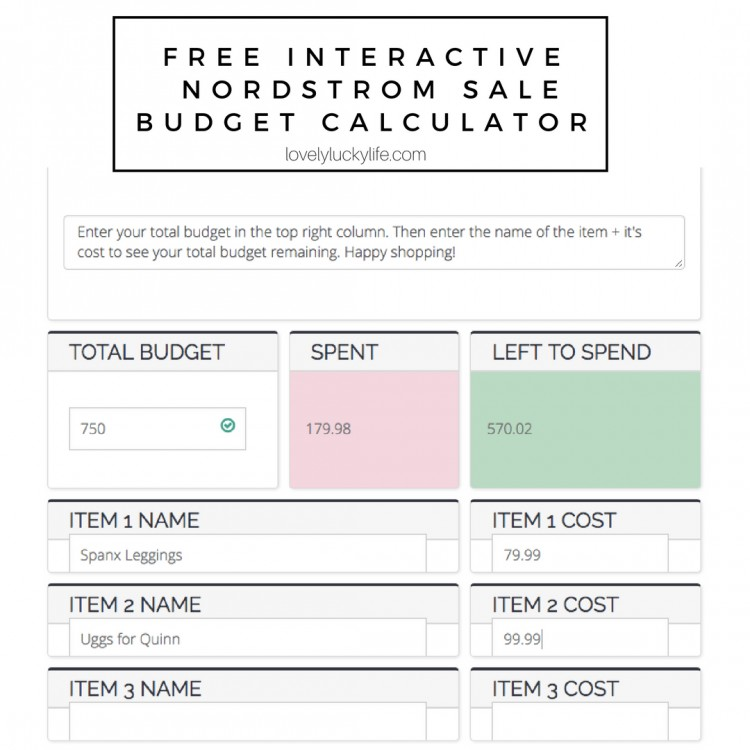 free interactive nordstrom sale budget creator calculator lovely