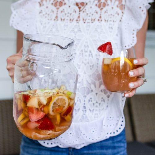 fresh fruit sangria with stevia, vodka, rose & Perrier! #summerdrink #sangria