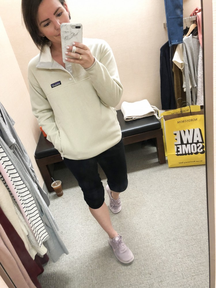 ivory patagonia fleece and black joggers