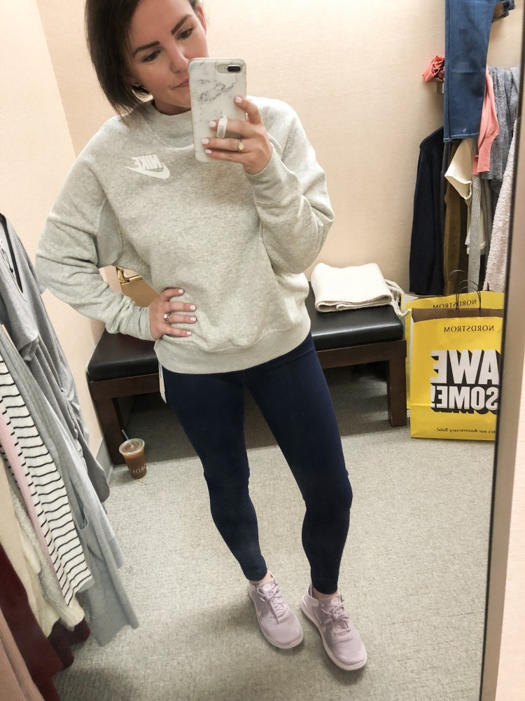 nike sweatshirt and zella high waist leggings