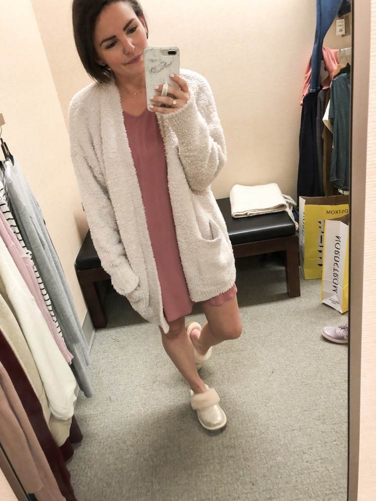 barefoot dreams cardigan and nordstrom nightgown