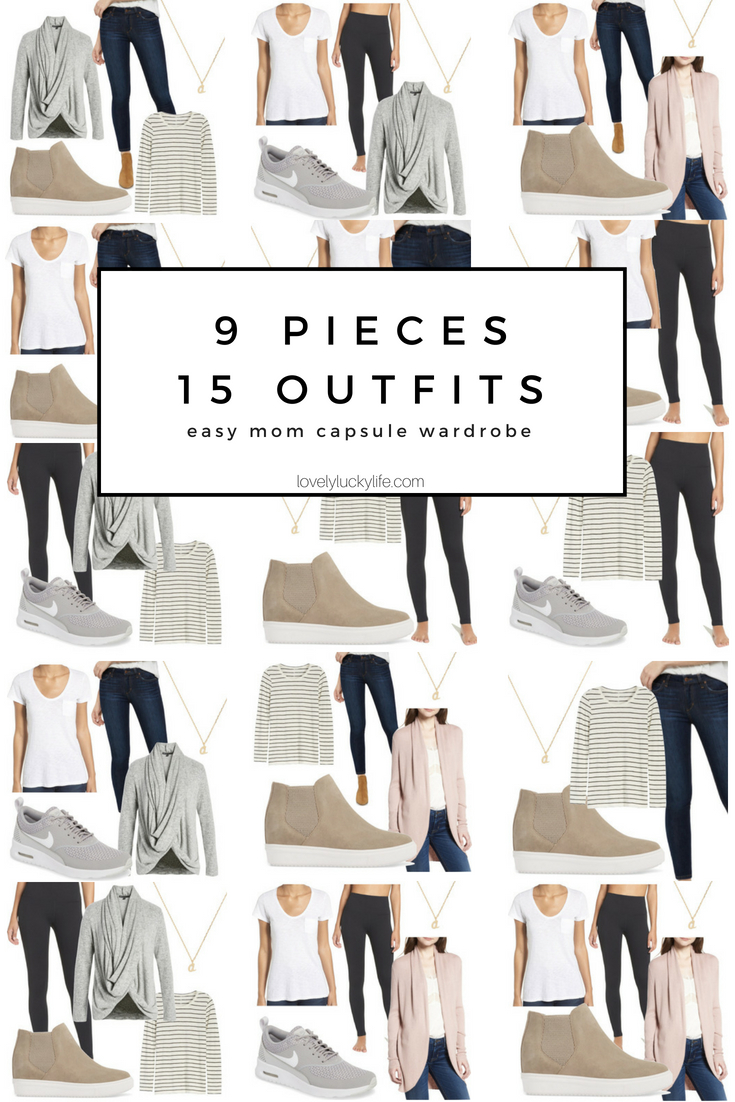 mom capsule wardrobe ideas - 9 pieces, 15 easy, casual, cool outfits for moms! #capsulewardrobe #outfitideas #momstyle