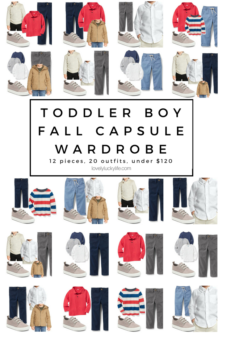 a full capsule wardrobe for a toddler boy - solves morning battles to get dressed, everything can be mixed and matched, 20 fall outfits for boys and it's all under $120 #capsulewardrobe #boysclothes