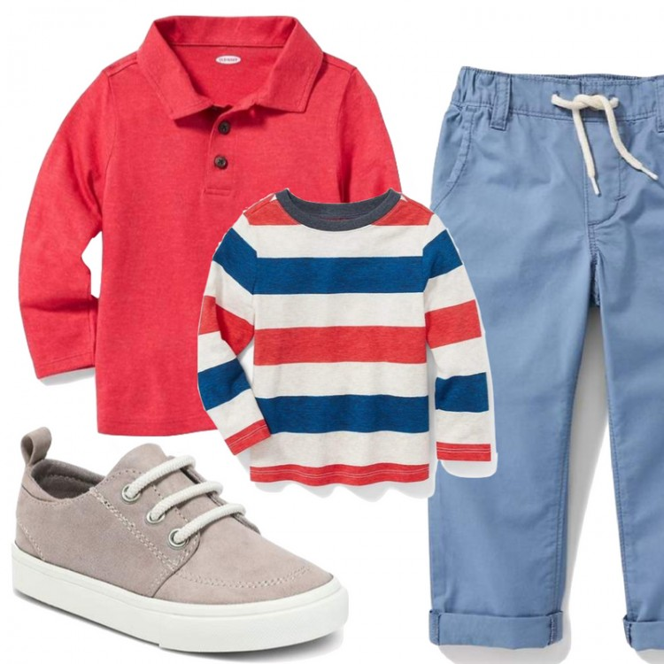 red, white & blue outfit for little boys