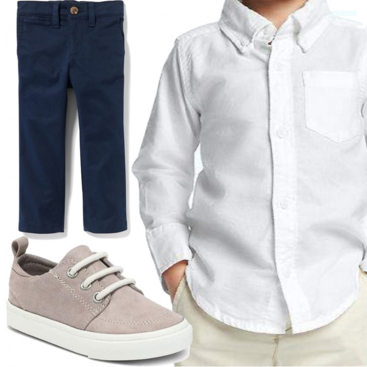 navy, white oxford and sneakers - love when little boys dress like their daddies