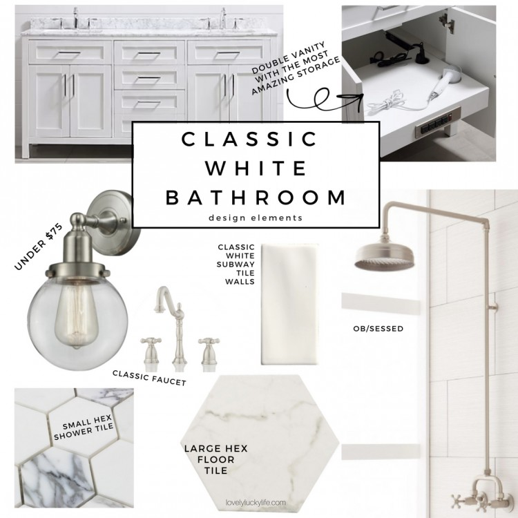 white classic bathroom inspo - the best pieces for a modern yet classic white bathroom design