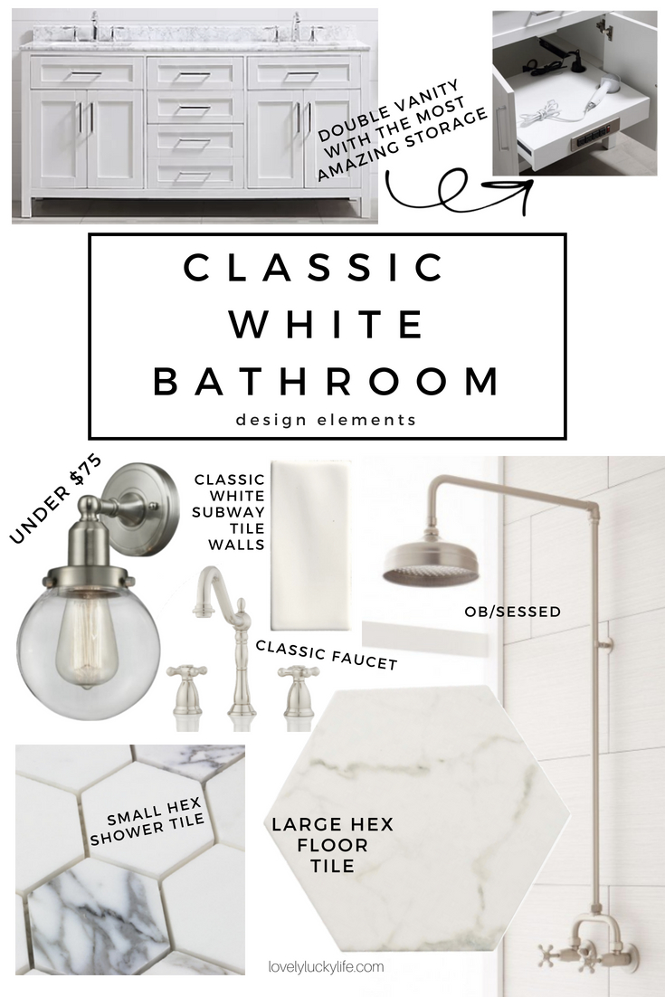 all the makings of a classic white bathroom with fresh, modern touches. large white marble hexagon tile, white subway tile, and small hex tile for the flooring plus a gorgeous vintage shower faucet and classic bathroom sink faucet