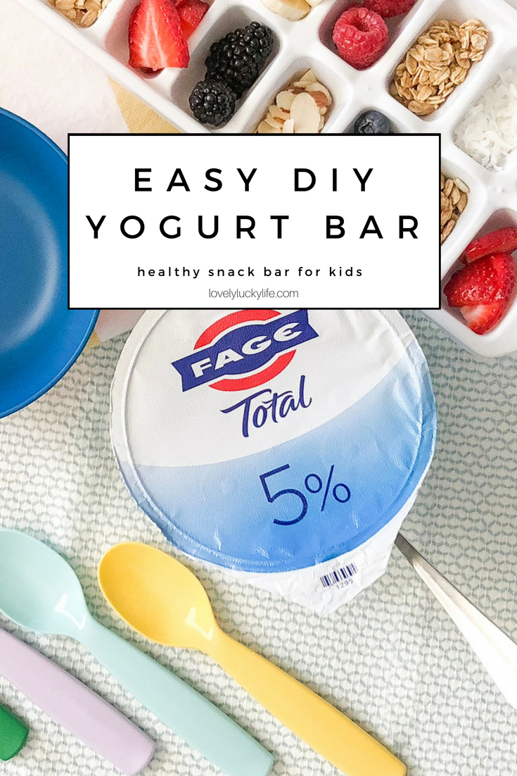easy DIY yogurt bar for kids - fill an ice cube tray full of healthy toppings and let kids build their own snack #snackhack #momhacks