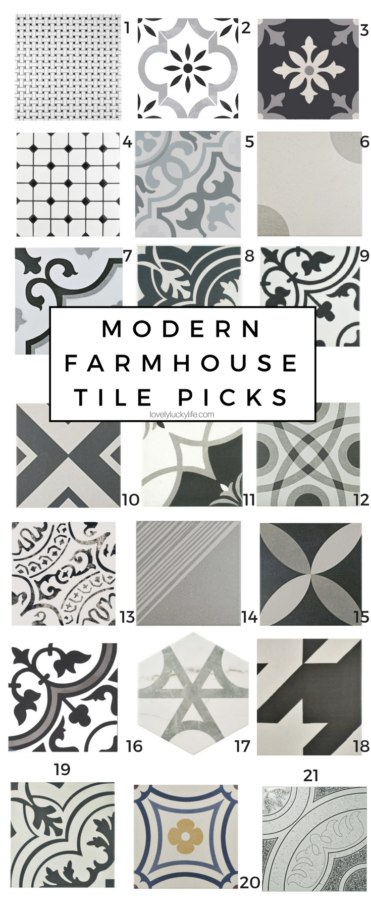 tile picks for the laundry room - modern farmhouse tile options... these are so fun for a little dash of fun! ceramic tiles for a touch of vintage farmhouse vibe