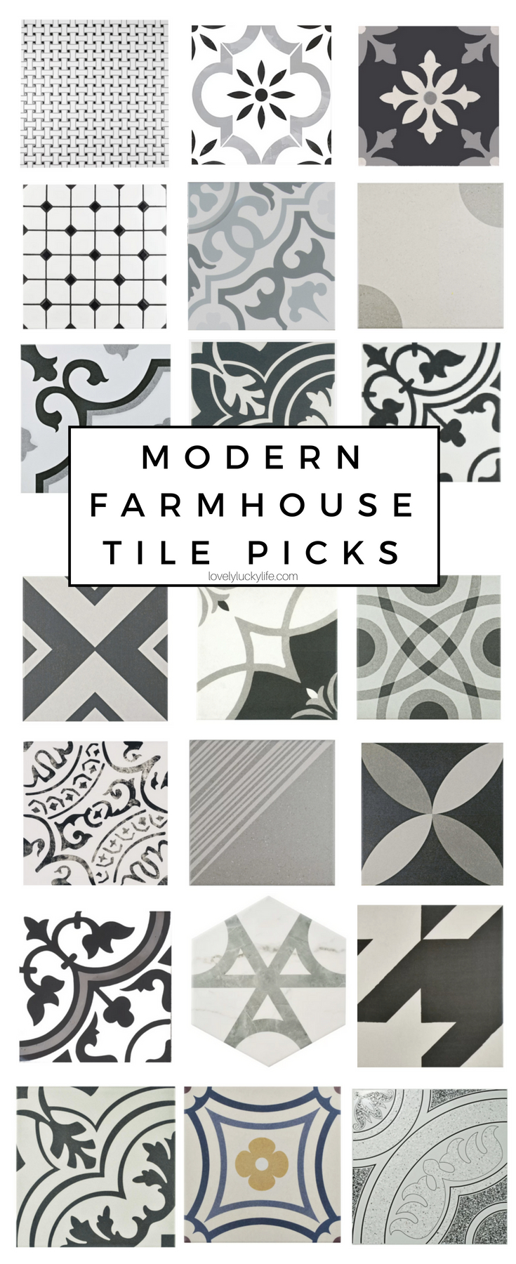 modern farmhouse tile options - geometric tile choices for a modern farmhouse vibe a la Magnolia & Chip & Jo!