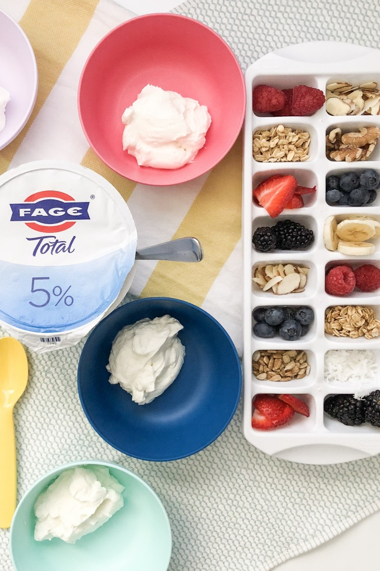 ideas for greek yogurt toppings - strawberries, raspberries, blueberries, blackberries, raisins, bananas, granola, seeds and nuts! #afterschoolsnack