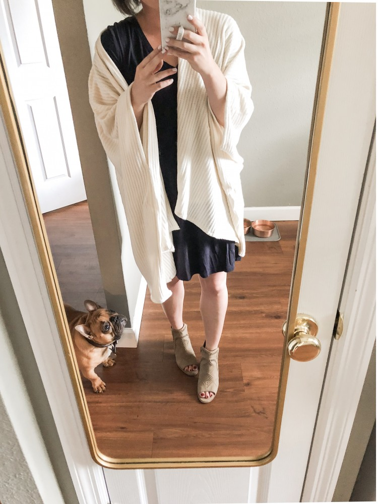 amazon prime wardrobe try on - drapey ivory cardigan love for fall