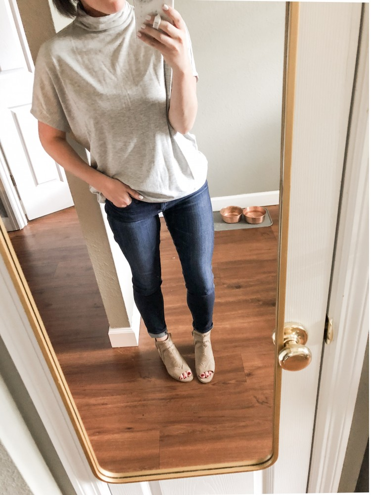 AG the legging jean outfit idea - grey slinky tank and nude heels